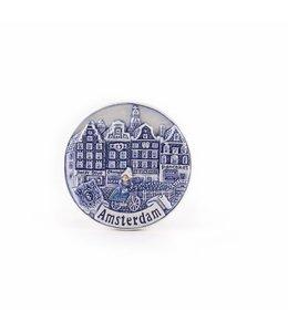 12 stuks Magneet gracht rond delftsblauw Amsterdam