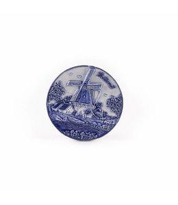12 stuks Magneet delftsblauw rond met molen Holland
