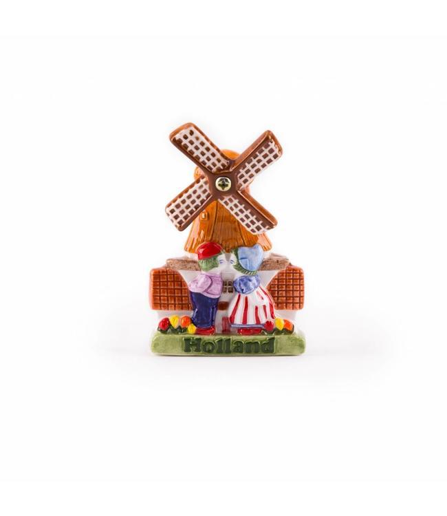 12 stuks Magneet keramiek molen met kuspaar color Holland