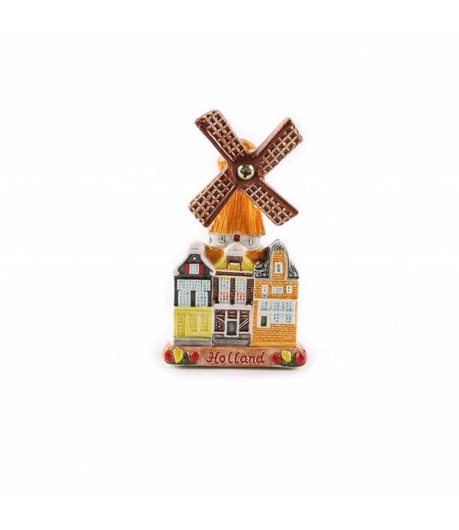 12 stuks Magneet keramiek stadsmolen color Holland