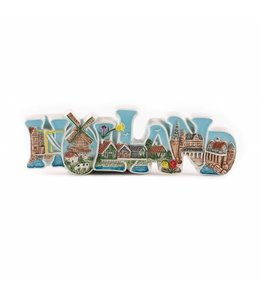 12 stuks Magneet keramiek letters color Holland