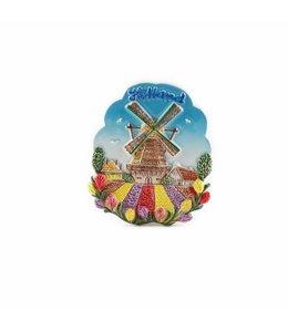 12 stuks Magneet keramiek molen met tulpenveld Holland