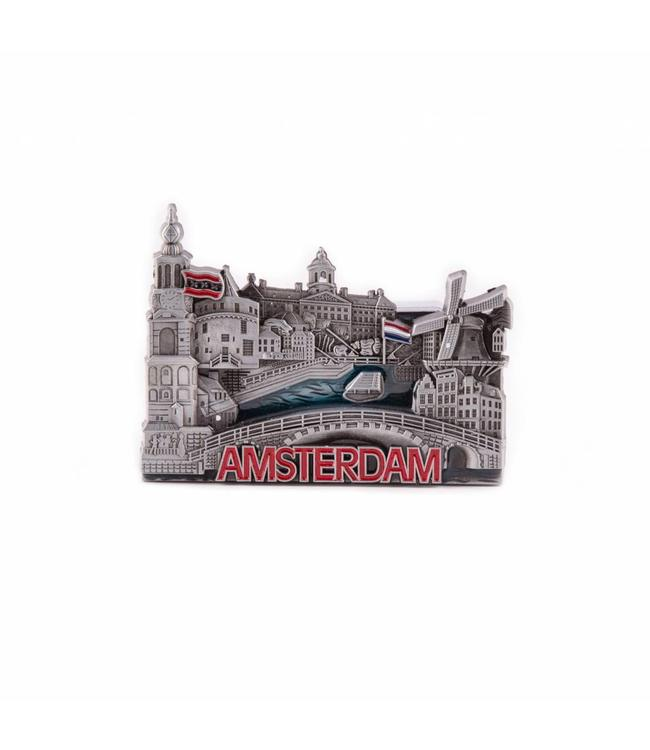 12 stuks Magneet metaal compilatie Amsterdam tin