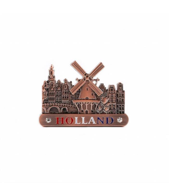 12 stuks Magneet metaal molen koper Holland