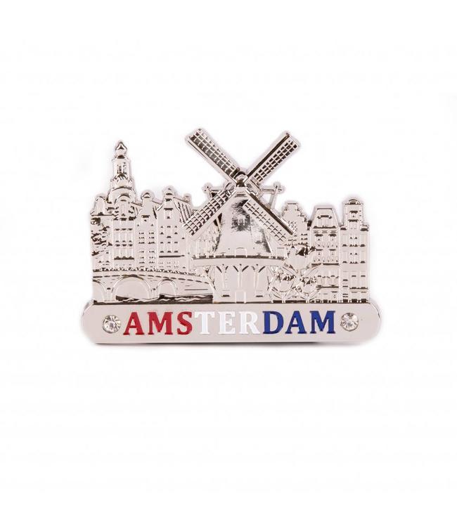 12 stuks Magneet metaal molen zilver Amsterdam