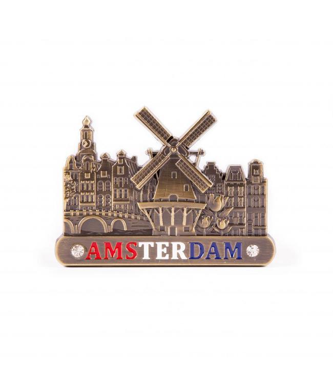 12 stuks Magneet metaal molen brons Amsterdam