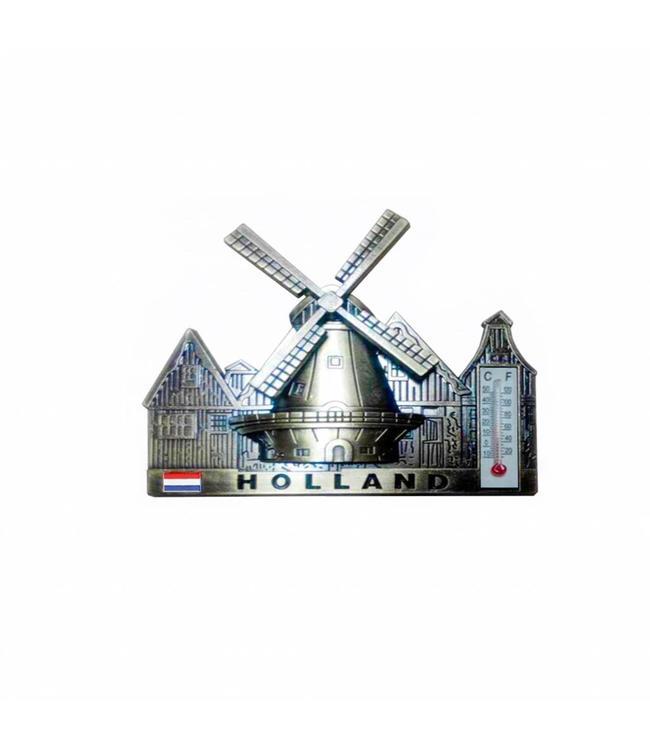12 stuks Magneet dorpstafereel thermometer Holland brons