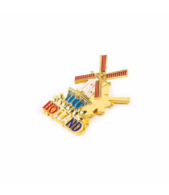 12 stuks Magneetclip metaal molen goud Holland