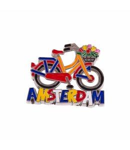 12 stuks magneet metaal fiets rood/oranje Amsterdam