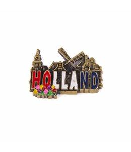 12 stuks magneet metaal RWB dorpstafereel Holland brons