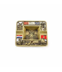 Asbak vierkant Holland compilatie brons