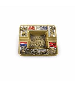 Asbak vierkant Amsterdam compilatie brons