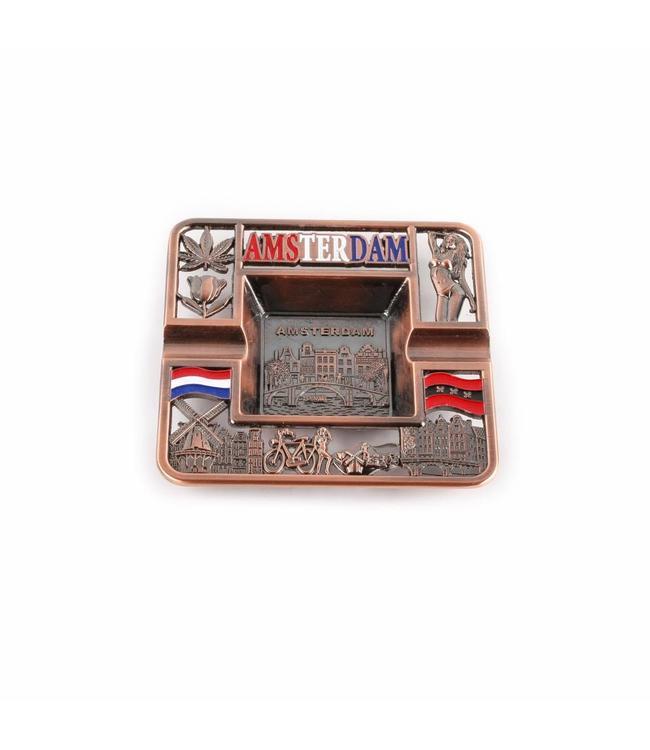 Asbak vierkant Amsterdam compilatie koper