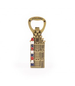 12 stuks Opener magneet huis Amsterdam brons