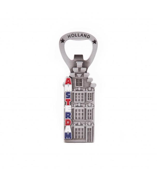 12 stuks Opener magneet huis Amsterdam tin