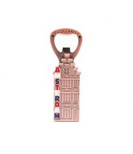 12 stuks Opener magneet huis Amsterdam koper