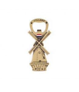 12 stuks Opener magneet molen Holland brons