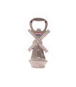 12 stuks Opener magneet molen Holland zilver