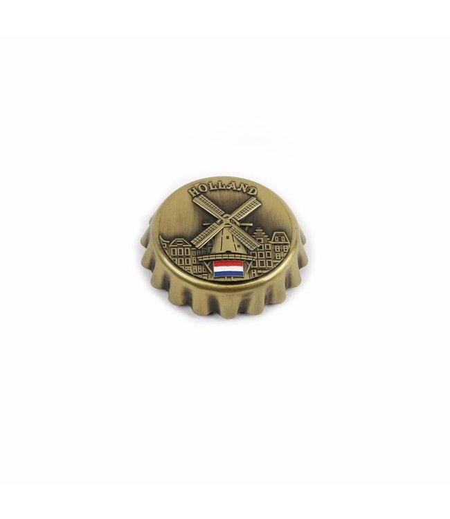Kroonkurkopener magneet molen brons