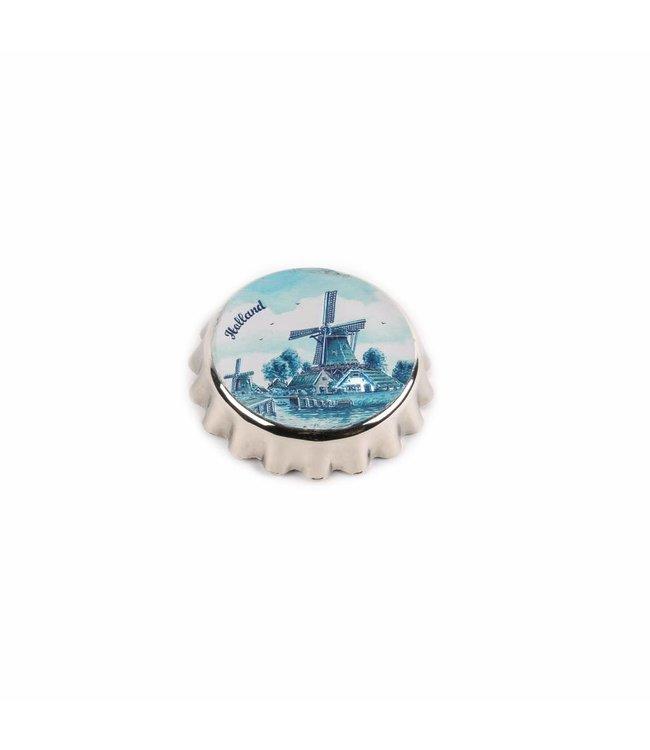 Kroonkurkopener magneet molen delftsblauw ets