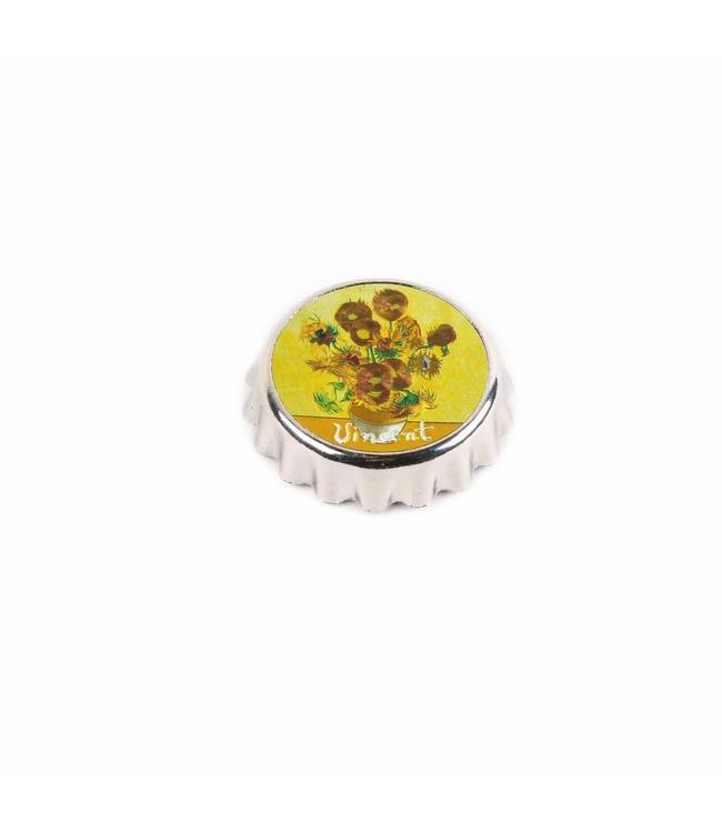 Kroonkurkopener magneet Zonnebloemen ets