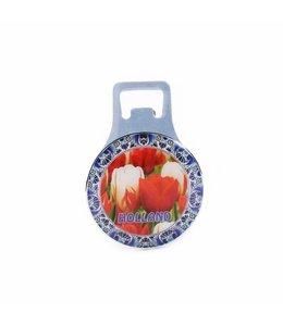 12 stuks Opener magneet metaal tulpen met rand Holland