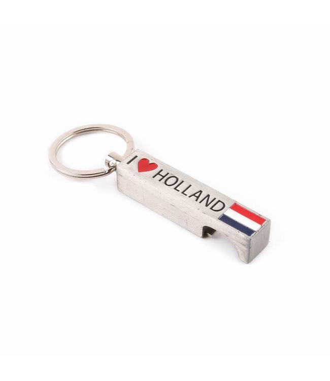 12 stuks Sleutelhanger opener I love Holland zilver