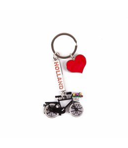 12 stuks Sleutelhanger bedels fiets hart Holland