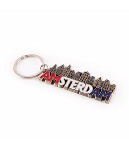 12 stuks Sleutelhanger gracht letters Amsterdam brons
