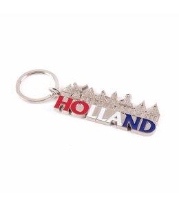 12 stuks Sleutelhanger dorp letters Holland zilver