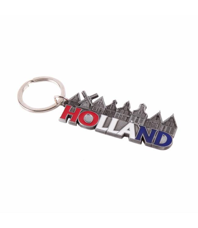 12 stuks Sleutelhanger dorp letters Holland tin