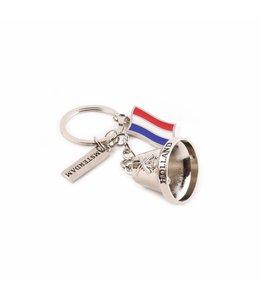 12 stuks Sleutelhanger belletje vlag shiny zilver Holland