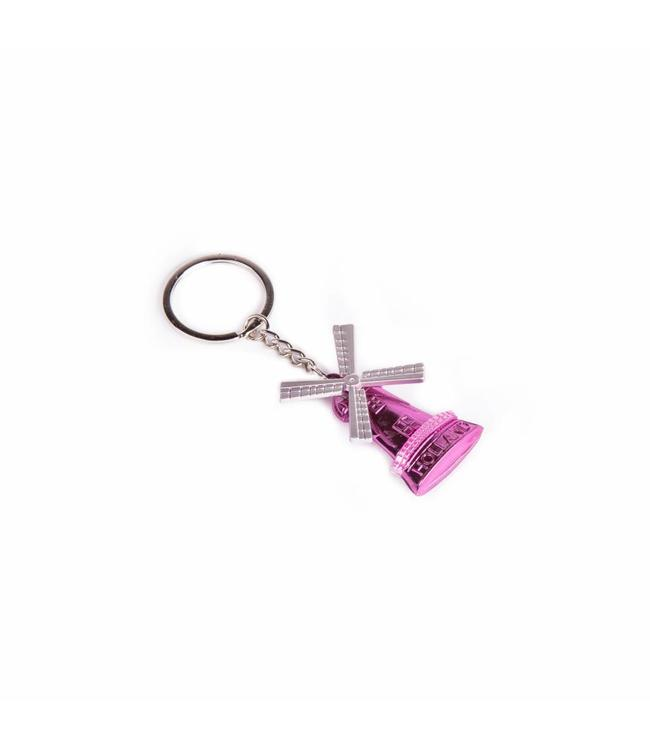 12 stuks Sleutelhanger molen metallic roze