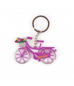 12 stuks Sleutelhanger fiets paars met tulpen Amsterdam