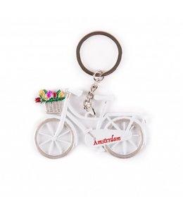 12 stuks Sleutelhanger fiets wit met tulpen Amsterdam
