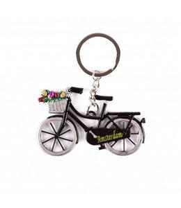 12 stuks Sleutelhanger fiets zwart met tulpen Amsterdam