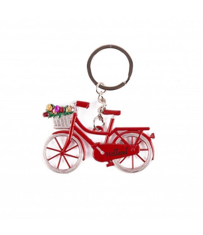 12 stuks Sleutelhanger fiets rood met tulpen Holland