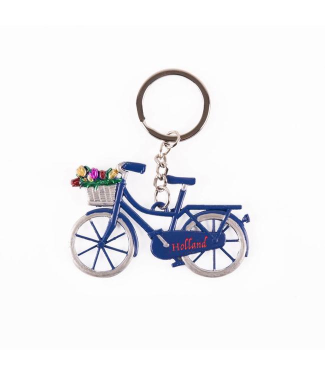 12 stuks Sleutelhanger fiets blauw met tulpen Holland