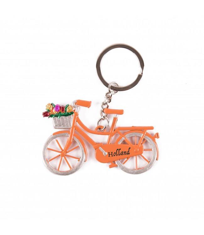 12 stuks Sleutelhanger fiets oranje met tulpen Holland