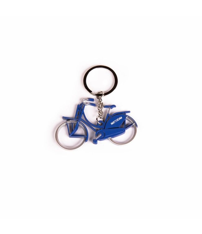 12 stuks Sleutelhanger fiets metallic blauw Amsterdam