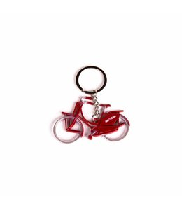12 stuks Sleutelhanger fiets metallic rood Amsterdam