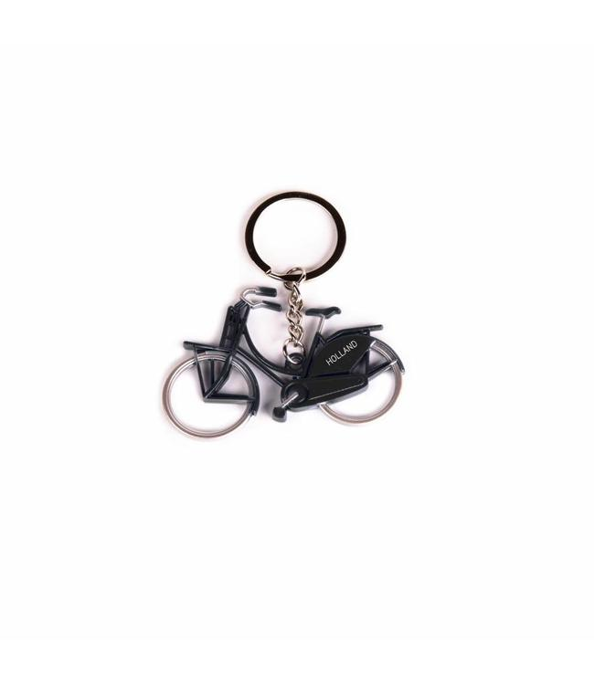 12 stuks Sleutelhanger fiets metallic zwart Holland