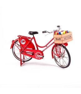 fiets rood met tulpen
