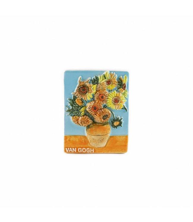 12 stuks Magneet keramiek zonnebloemen color Van Gogh