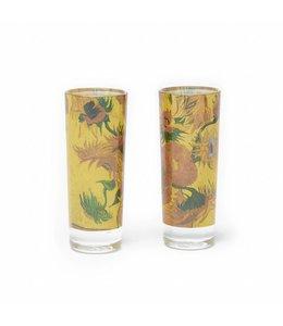 10 stuks Set 2 shotglazen Zonnebloemen Van Gogh Museum