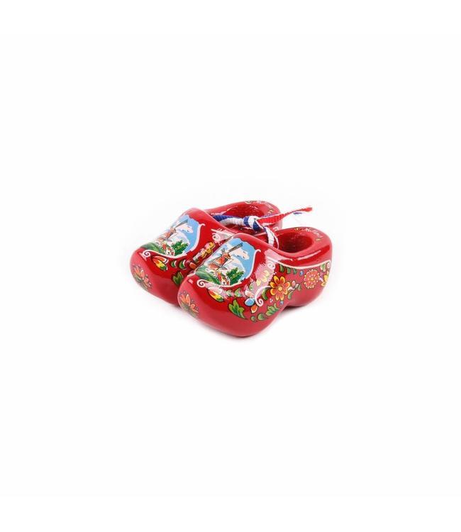 12 stuks Houten klomp paar Holland rood  6 cm