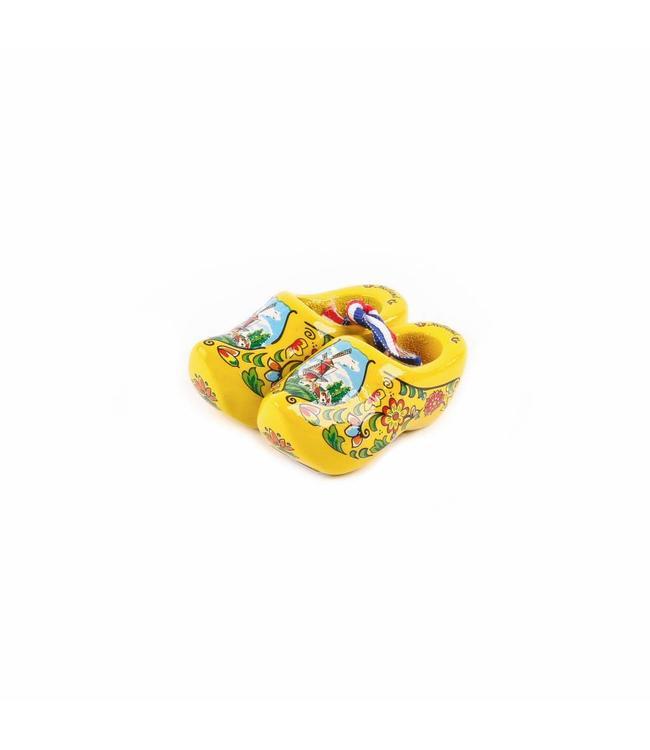 12 stuks Houten klomp paar Holland geel 6 cm