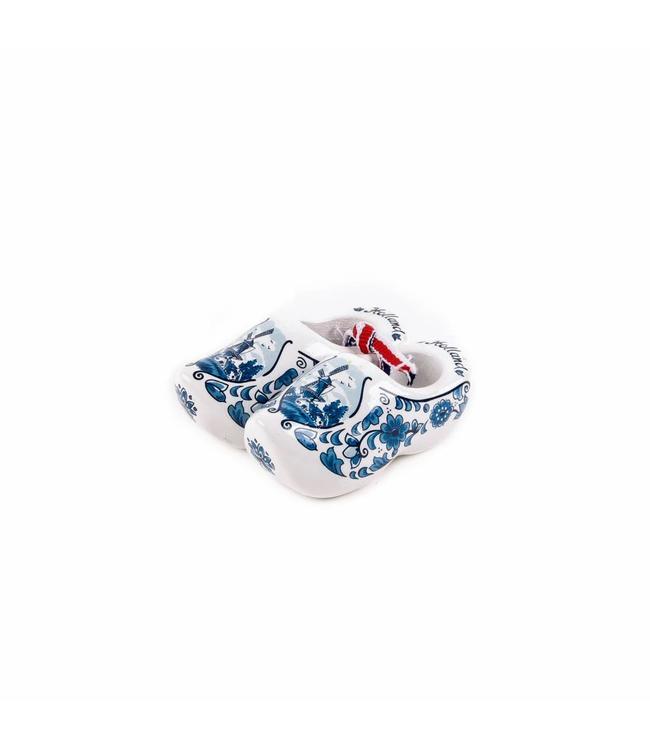 12 stuks Houten klomp paarHolland  delftsblauw 6 cm