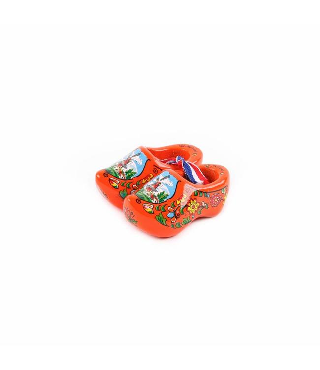 12 stuks Houten klomp paar Holland oranje 6 cm