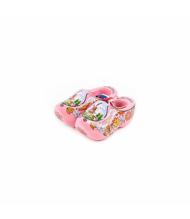 12 stuks Houten klomp paar Holland roze 6 cm